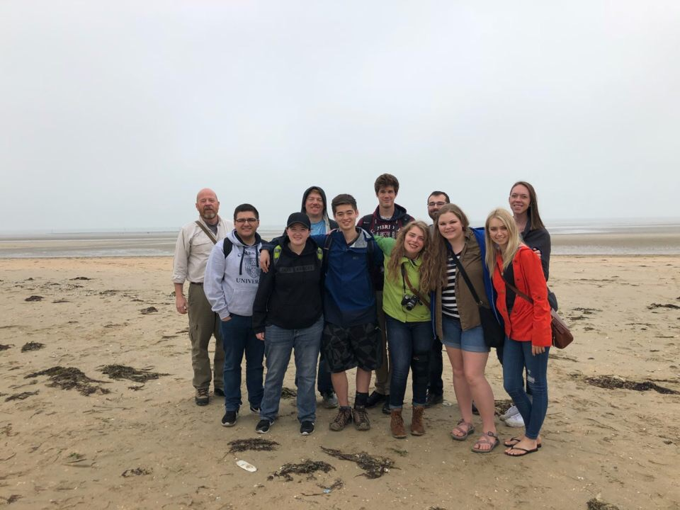 Europe in WWII students on Utah Beach in Normandy