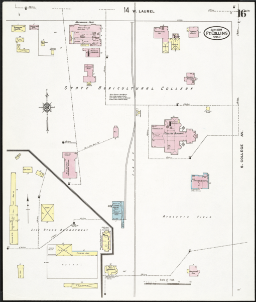 shows the locations of roads and buildings of campus in 1909