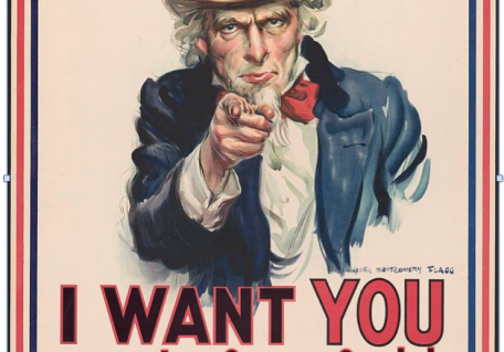 Uncle Sam pointing at the viewer with an ad for the ice cream social