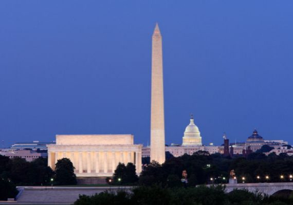 The Lincoln Memorial, Washigton Monument and United States Capitol at night.