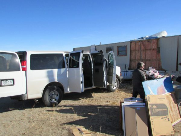 Loading materials into a van