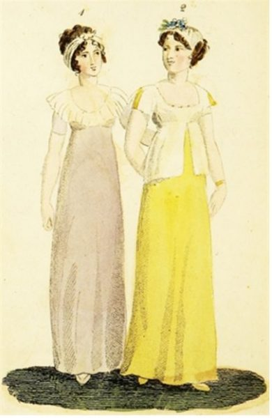 Two ladies standing in empire waisted gowns