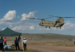 Emergency personnel use Colorado State University's Christman Field as a base supporting evacuations from flooding in Northern Larimer County. September 17, 2013